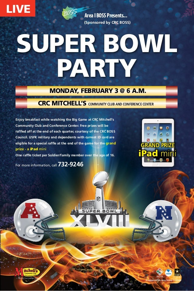 LIVE  Area I BOSS Presents... (Sponsored by CRC BOSS)  SUPER BOWL Party Monday, February 3 @ 6 a.m. CRC Mitchell's Communi...