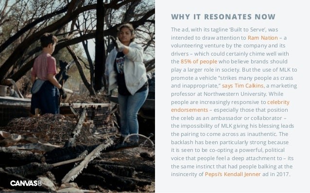 WHY IT RESONATES NOW The ad, with its tagline 'Built to Serve', was intended to draw attention to Ram Nation – a volunteer...