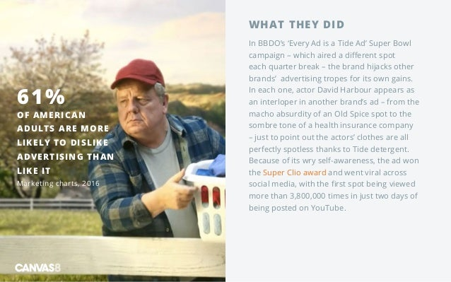 WHAT THEY DID In BBDO's 'Every Ad is a Tide Ad' Super Bowl campaign – which aired a different spot each quarter break – th...