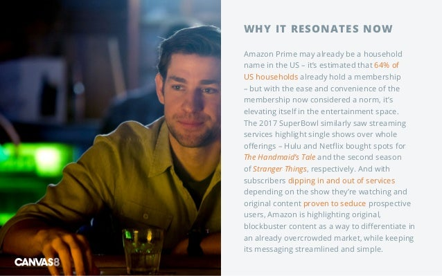 WHY IT RESONATES NOW Amazon Prime may already be a household name in the US – it's estimated that 64% of US households alr...