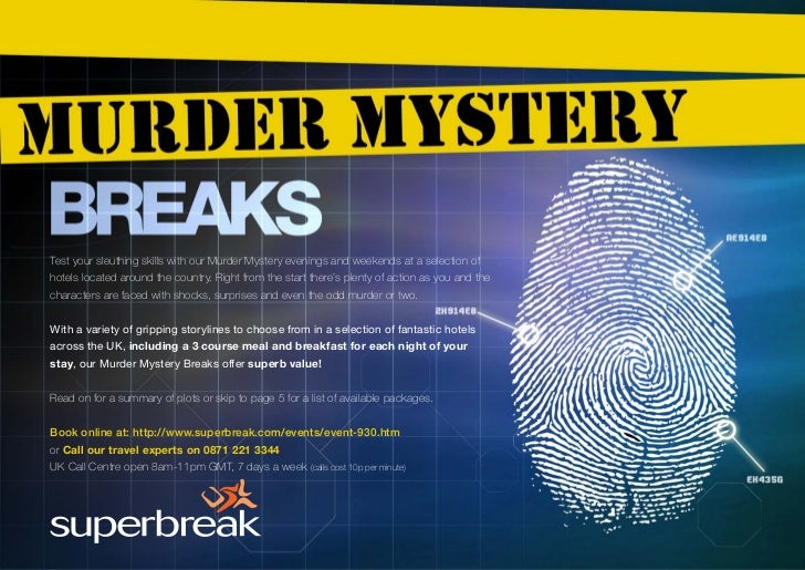 Test your sleuthing skills with our Murder Mystery evenings and weekends at a selection ofhotels located around the countr...