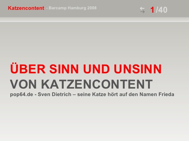 ÜBER SINN UND UNSINN VON KATZENCONTENT  pop64.de - Sven Dietrich – seine Katze hört auf den Namen Frieda /40