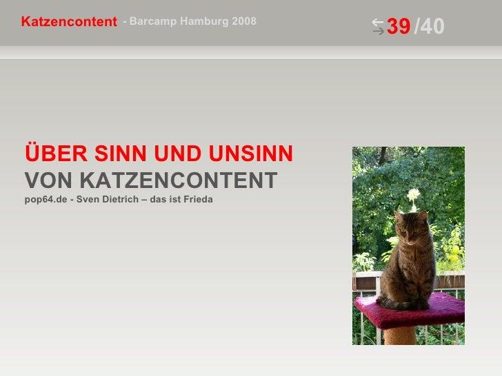 ÜBER SINN UND UNSINN VON KATZENCONTENT  pop64.de - Sven Dietrich – das ist Frieda /40
