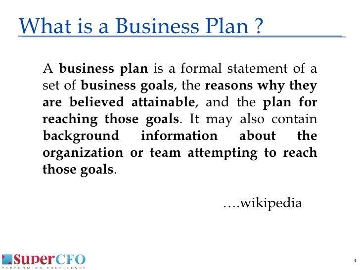 Formal business plan presentation