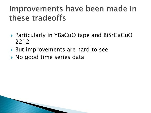 Particularly in YBaCuOtape and BiSrCaCuO2212  But improvements are hard to see  No good time series data