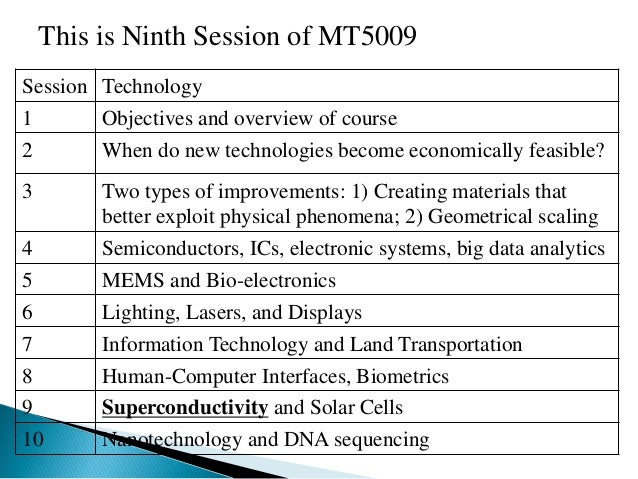 Session  Technology  1  Objectives and overview of course  2  When do new technologies become economically feasible?  3  T...