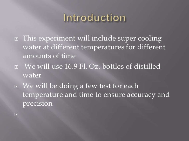 Supercooling water