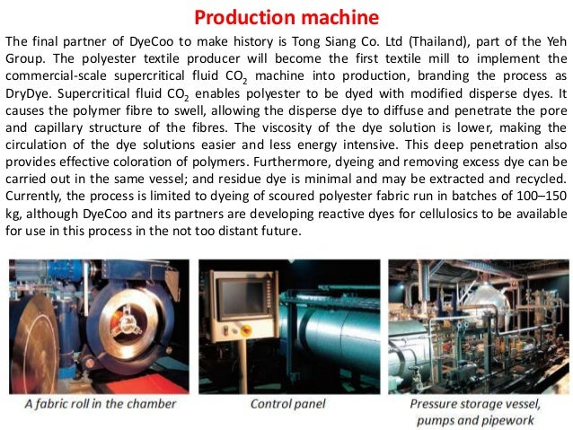 supercritical fluid dyeing in the textile Dyeing of pet textile fibers and films in supercritical carbon dioxide the scope of supercritical fluid technology has been widened to.