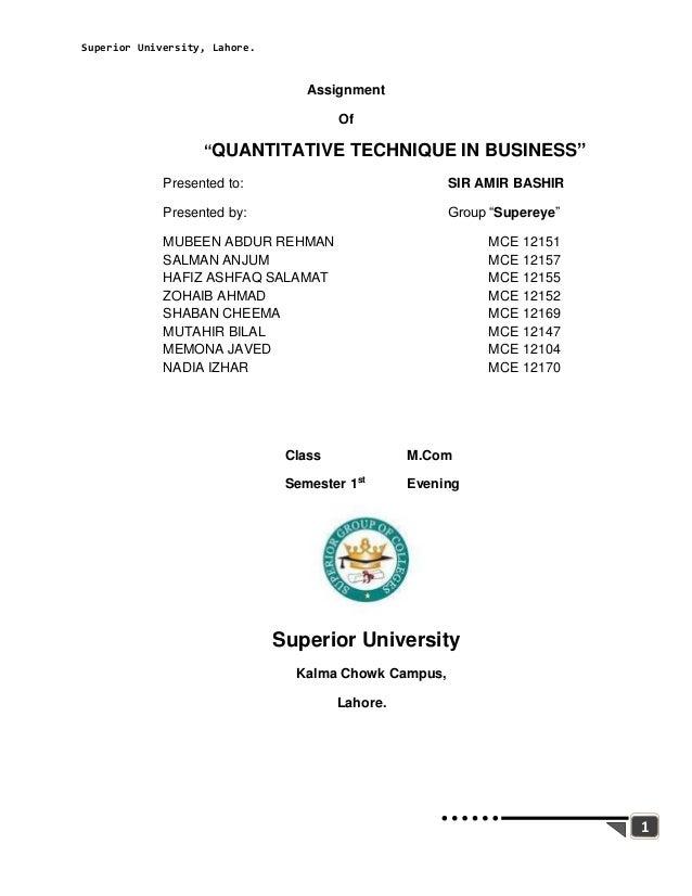 Superior University, Lahore.                                   Assignment                                        Of       ...