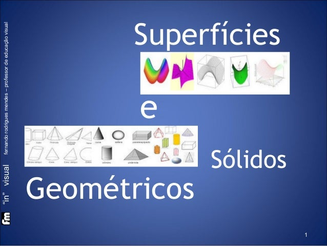"""in"" visual fernando rodrigues mendes – professor de educação visual  Superfícies  e  Geométricos Sólidos 1"