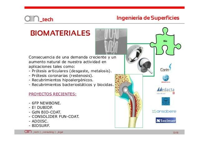 _tech  Ingeniería de Superficies  BIOMATERIALES Bío  Consecuencia de una demanda creciente y un aumento natural de nuestra...