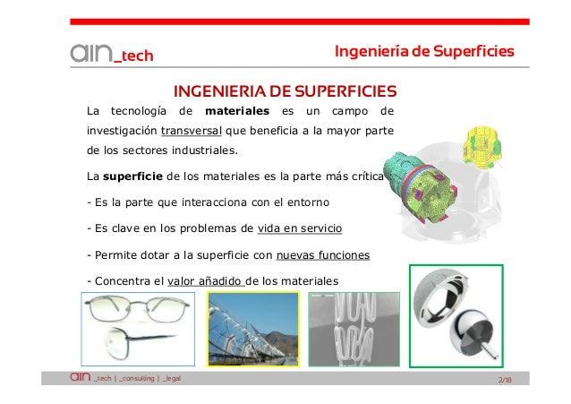 Ingeniería de Superficies  _tech  INGENIERIA DE SUPERFICIES La  tecnología  de  materiales  es  un  campo  de  investigaci...