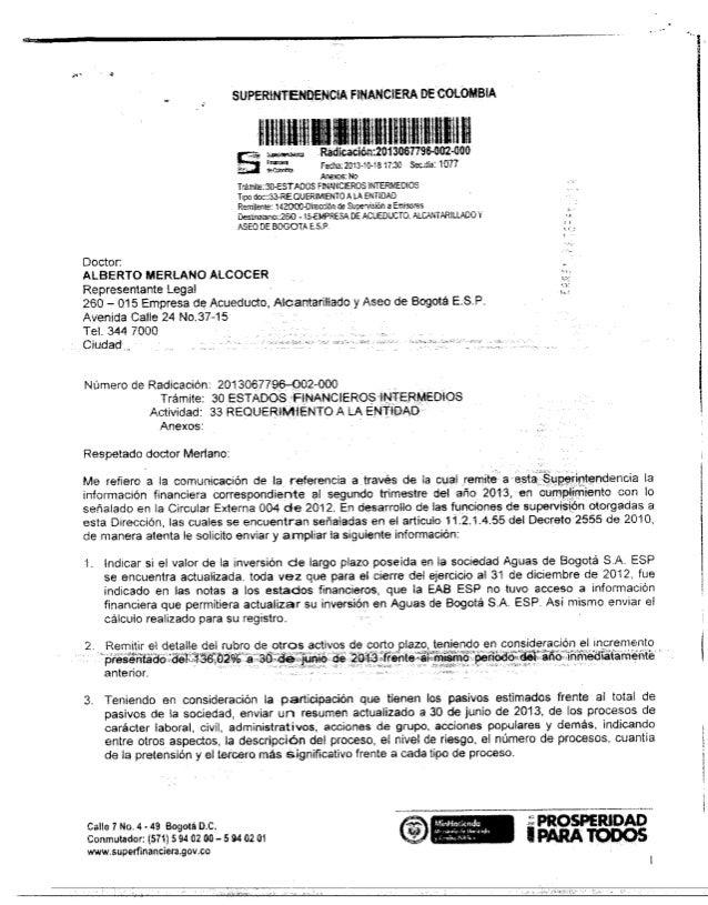 Superfinanciera sobre la empresa Aguas Bogota