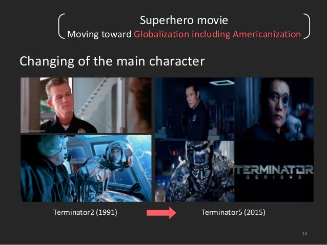 14  Superhero movie  Moving toward Globalization including Americanization  Changing of the main character  Terminator2 (1...