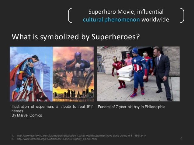 What is symbolized by Superheroes?  3  Superhero Movie, influential  cultural phenomenon worldwide  Illustration of superm...