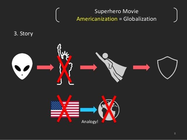 8  3. Story  Superhero Movie  Americanization = Globalization  Analogy!