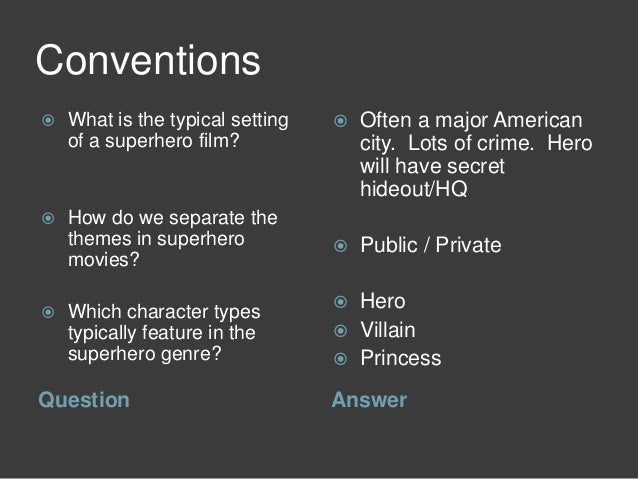 Superhero Revision - Codes and Conventions