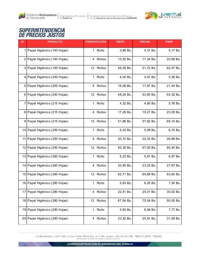 Superintendencia de precios justos lista de precios for Papel de empapelar precios
