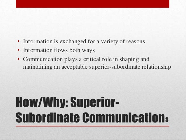 superior and subordinate communication Abstract in a series of two studies, this research (a) identified strategic situations in which superiors and subordinates felt the need to maintain their rel.