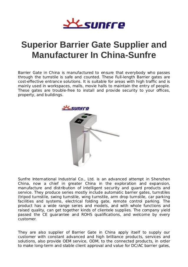 Superior barrier gate supplier and manufacturer in china sunfre