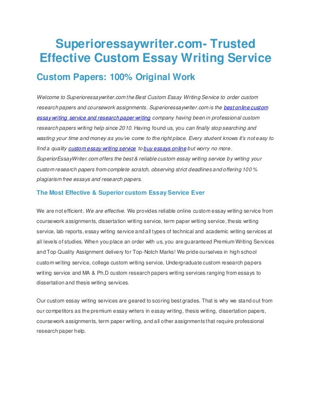 superioressaywritercom trusted effective custom essay writing service