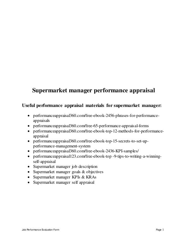 Job Performance Evaluation Form Page 1 Supermarket manager performance appraisal Useful performance appraisal materials fo...