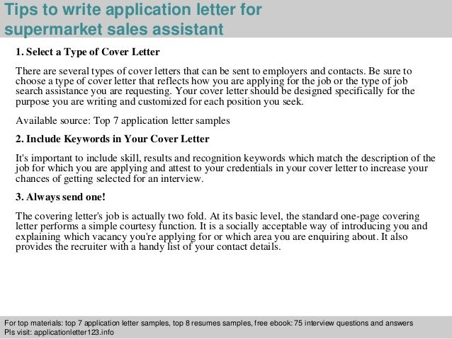 Application Letter For A Job In Supermarket