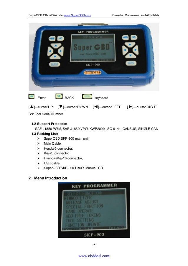 Superobd SKP900 Key Programmer User Manual