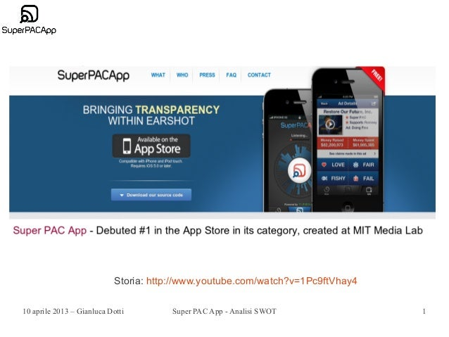 Storia: http://www.youtube.com/watch?v=1Pc9ftVhay410 aprile 2013 – Gianluca Dotti         Super PAC App - Analisi SWOT    ...