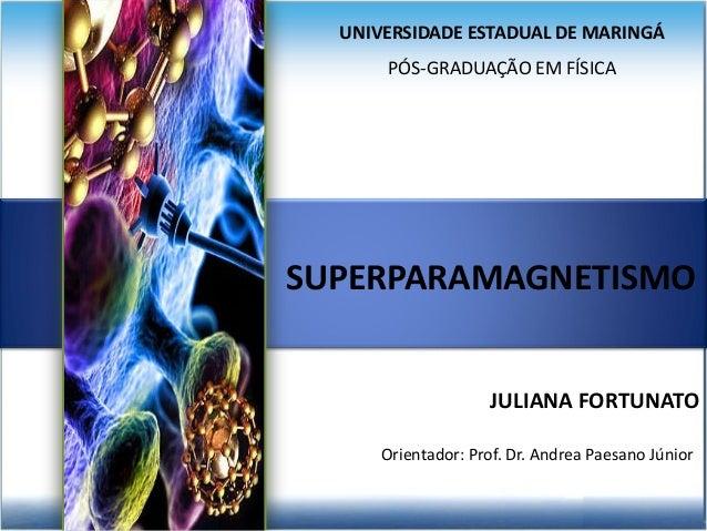 UNIVERSIDADE ESTADUAL DE MARINGÁ PÓS-GRADUAÇÃO EM FÍSICA ÓXIDOS DE FERRO Orientador: Prof. Dr. Andrea Paesano Júnior JULIA...