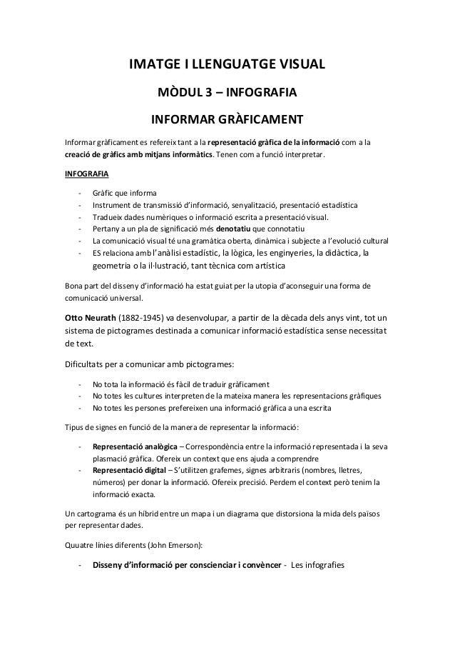 IMATGE I LLENGUATGE VISUAL                           MÒDUL 3 – INFOGRAFIA                         INFORMAR GRÀFICAMENTInfo...
