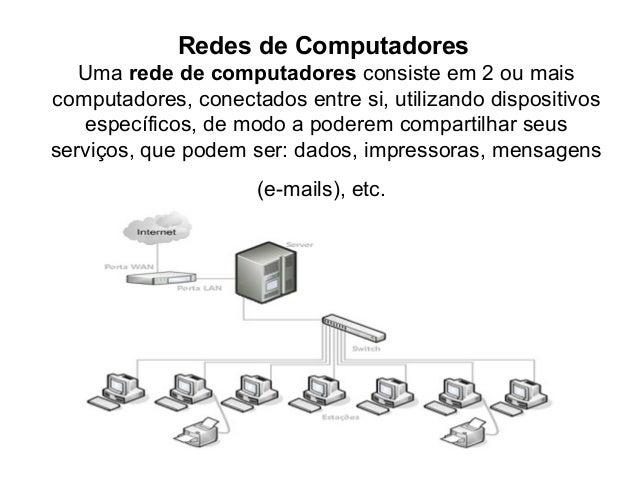 Redes de Computadores Uma rede de computadores consiste em 2 ou mais computadores, conectados entre si, utilizando disposi...