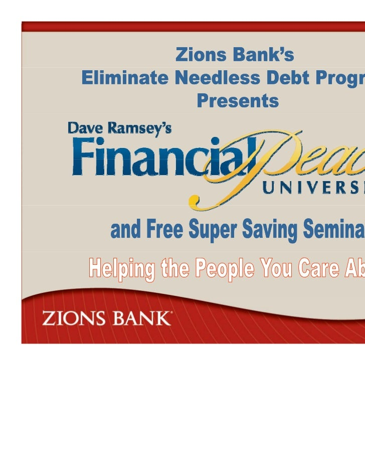 Why Did Zions Create OurEliminate Needless Debt (END) Program?• Utah had consistently  ranked #1 in bankruptcy  rate in th...