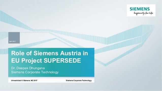 Role of Siemens Austria in EU Project SUPERSEDE Dr. Deepak Dhungana Siemens Corporate Technology Siemens Corporate Technol...