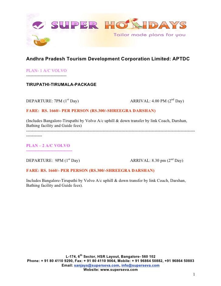 Andhra Pradesh Tourism Development Corporation Limited: APTDCPLAN- 1 A/C VOLVO----------------------------TIRUPATHI-TIRUMA...