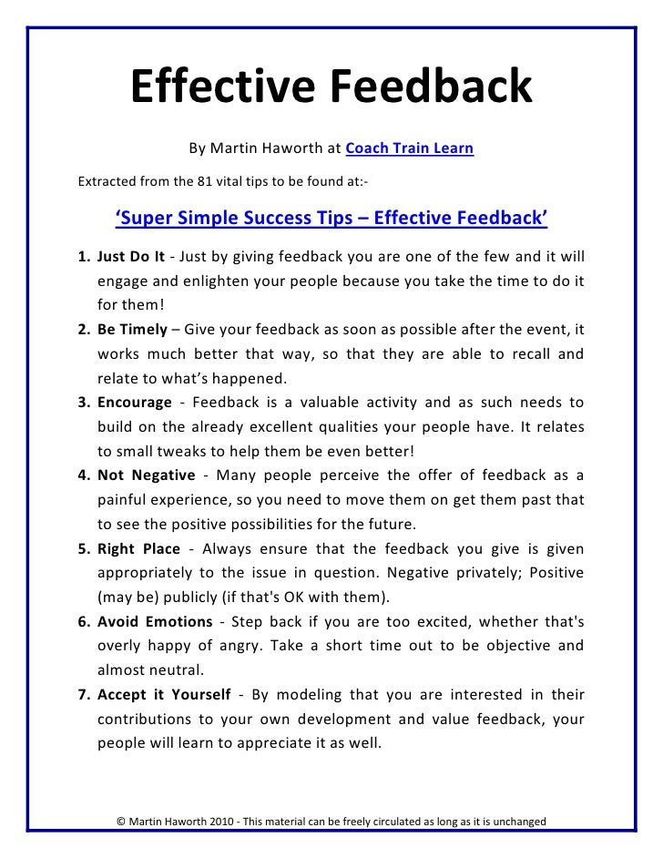 Super Simple Success Tips Effective Feedback