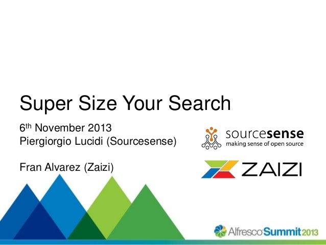 #SummitNow Super Size Your Search 6th November 2013 Piergiorgio Lucidi (Sourcesense) Fran Alvarez (Zaizi)