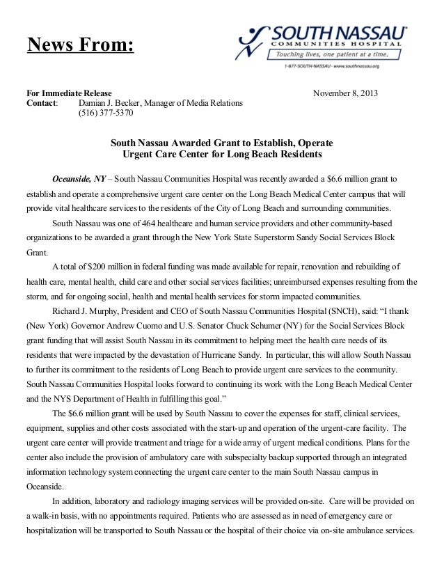 News From: For Immediate Release Contact: Damian J. Becker, Manager of Media Relations (516) 377-5370  November 8, 2013  S...