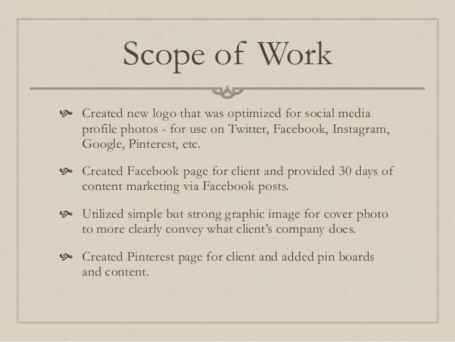 marketing scope of work template - home improvement service social media marketing example