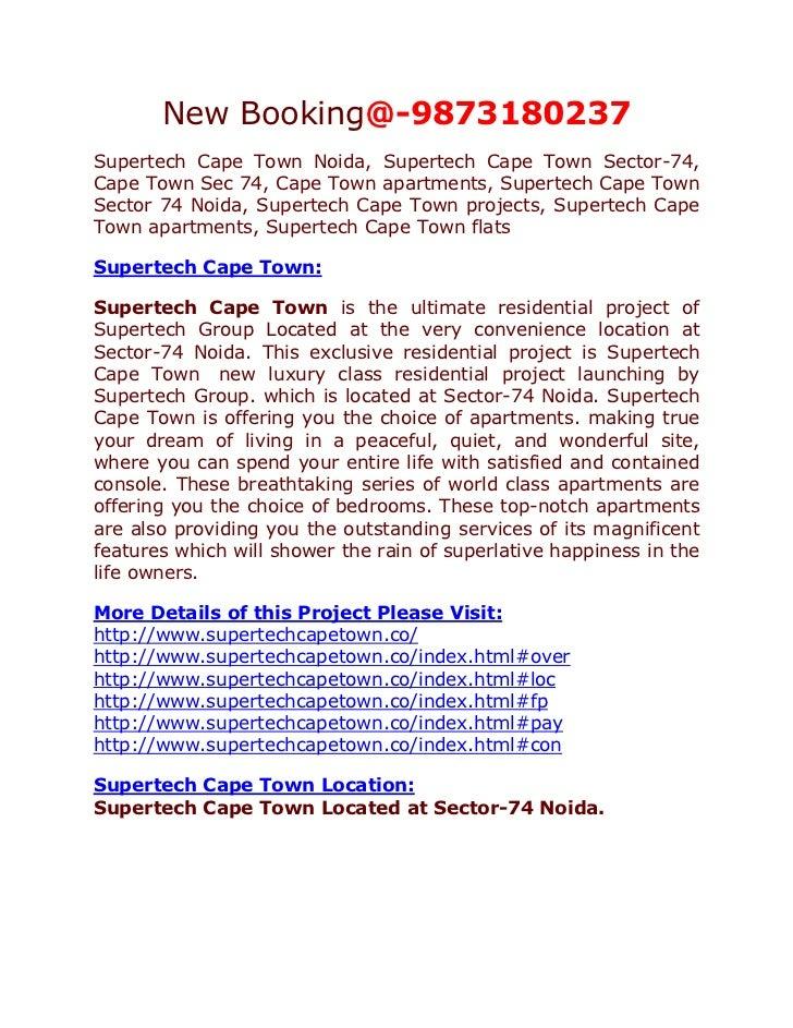 New Booking@-9873180237Supertech Cape Town Noida, Supertech Cape Town Sector-74,Cape Town Sec 74, Cape Town apartments, Su...