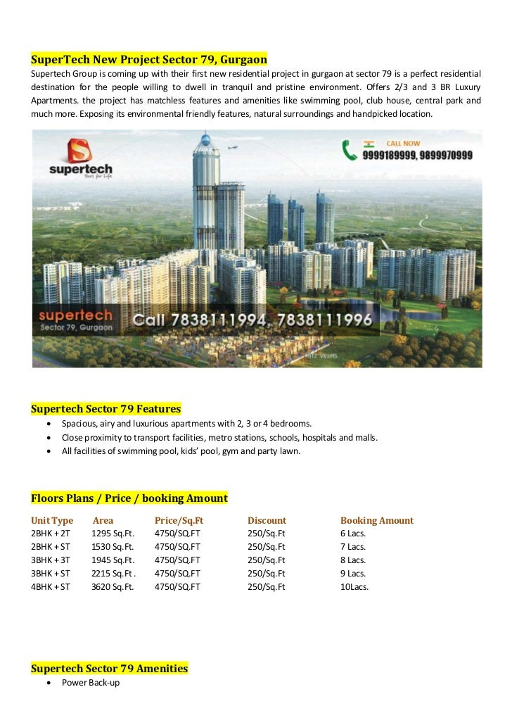 SuperTech New Project Sector 79, GurgaonSupertech Group is coming up with their first new residential project in gurgaon a...