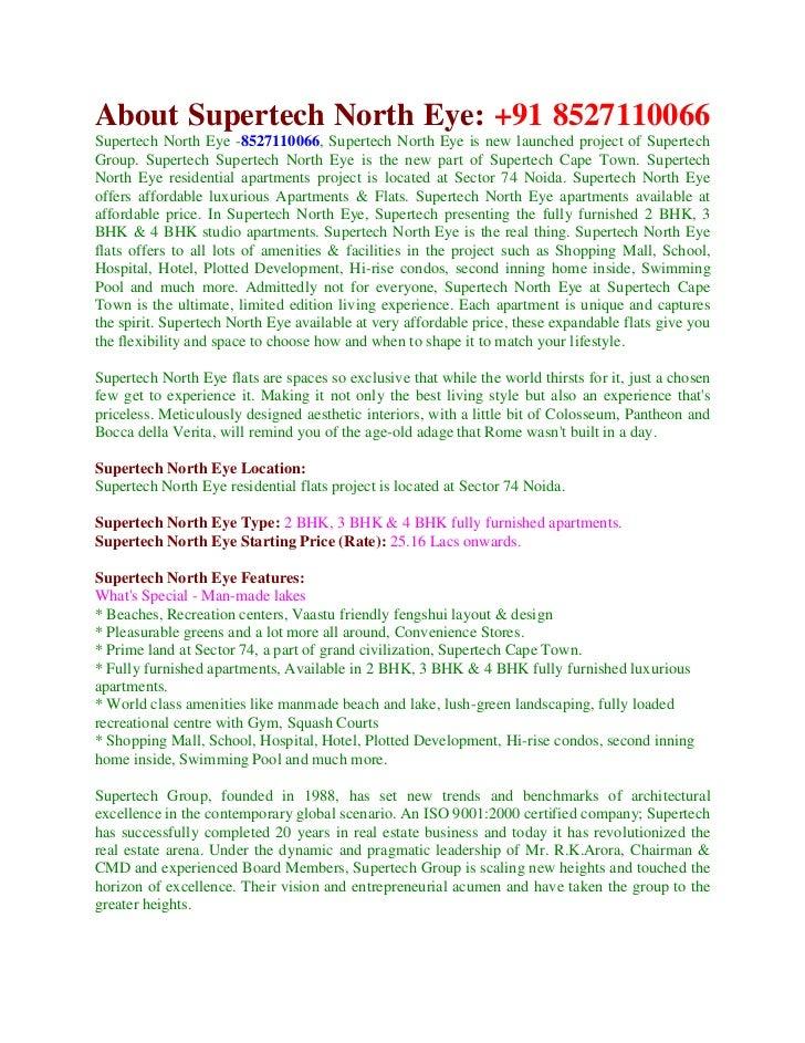 About Supertech North Eye: +91 8527110066Supertech North Eye -8527110066, Supertech North Eye is new launched project of S...