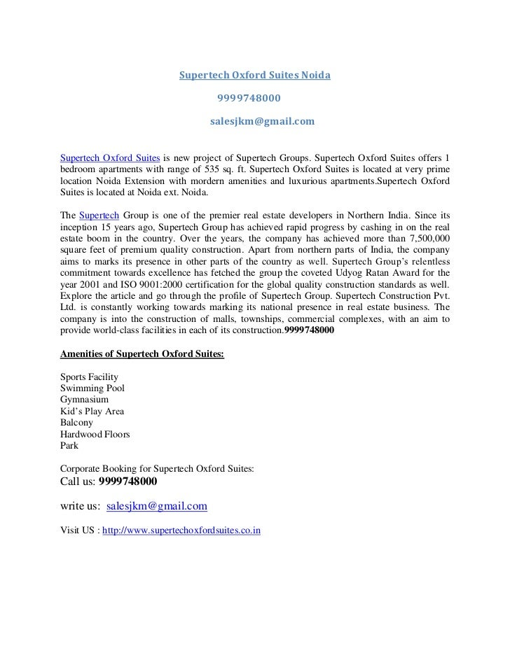 Supertech Oxford Suites Noida<br />   9999748000<br />salesjkm@gmail.com<br />Supertech Oxford Suites is new project of Su...