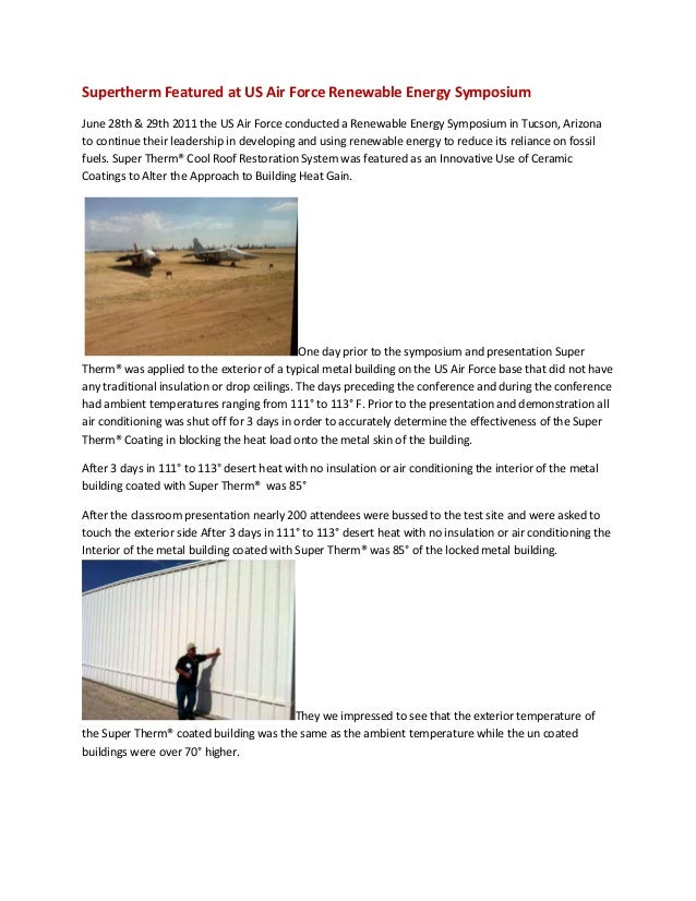 Supertherm Featured at US Air Force Renewable Energy SymposiumJune 28th & 29th 2011 the US Air Force conducted a Renewable...