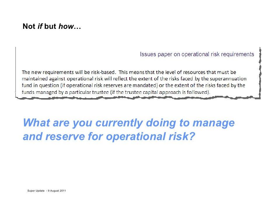 Op Risk for Super Funds