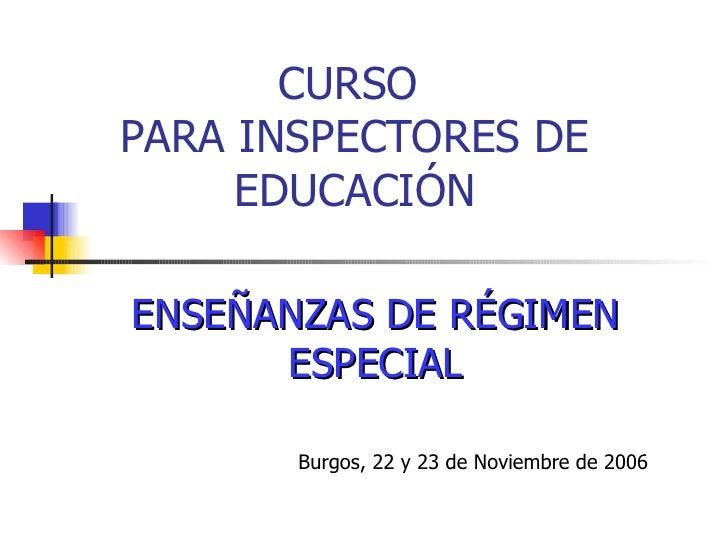 CURSO  PARA INSPECTORES DE EDUCACIÓN ENSEÑANZAS DE RÉGIMEN ESPECIAL Burgos, 22 y 23 de Noviembre de 2006