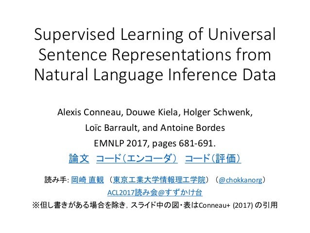 Supervised Learning of Universal Sentence Representations from Natural Language Inference Data Alexis Conneau, Douwe Kiela...