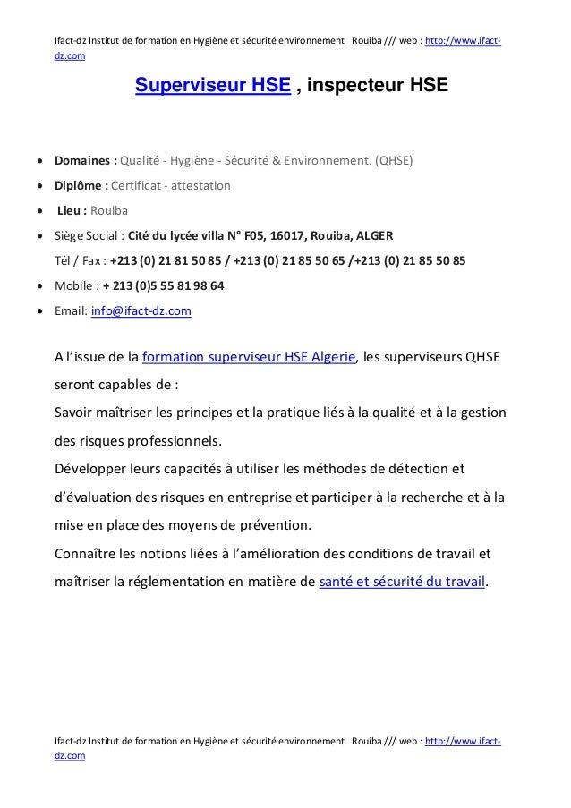 Ifact-dz Institut de formation en Hygiène et sécurité environnement Rouiba /// web : http://www.ifact-    dz.com          ...