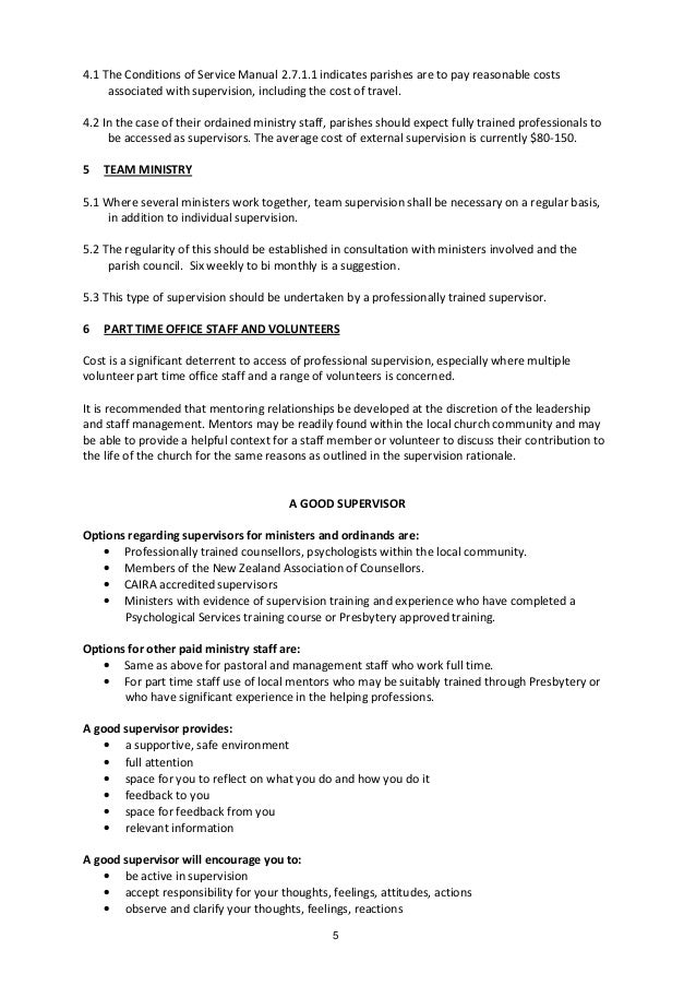 Ministerial Supervision Guidelines PCANZ 2011