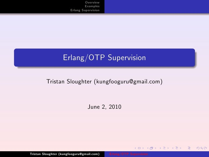 Overview                                 Examples                        Erlang Supervision                        Erlang/...